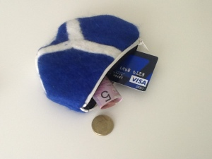 Coin purse - fits a credit card and loose change.