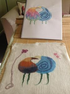Original sketch and felted interpretation