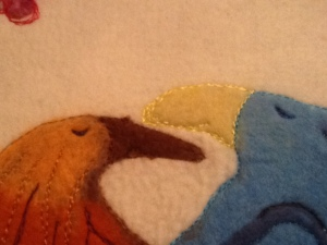 Close up embroidery love birds