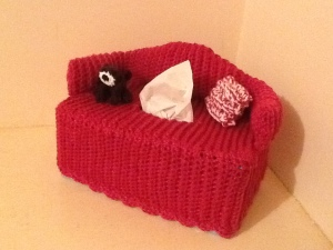 Couch tissue box cover with dog and cushion